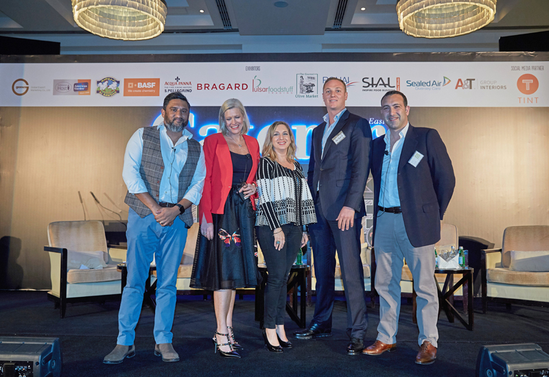 Sanjay Murthy, Emma Banks, Fay Economides, Jamal O. Wick, and Namir Hourani took part in a panel discussion on F&B game changers.
