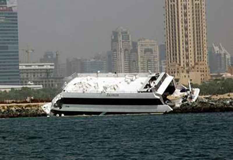 Super-yacht Jasmin, which crashed near Palm Jumeirah.