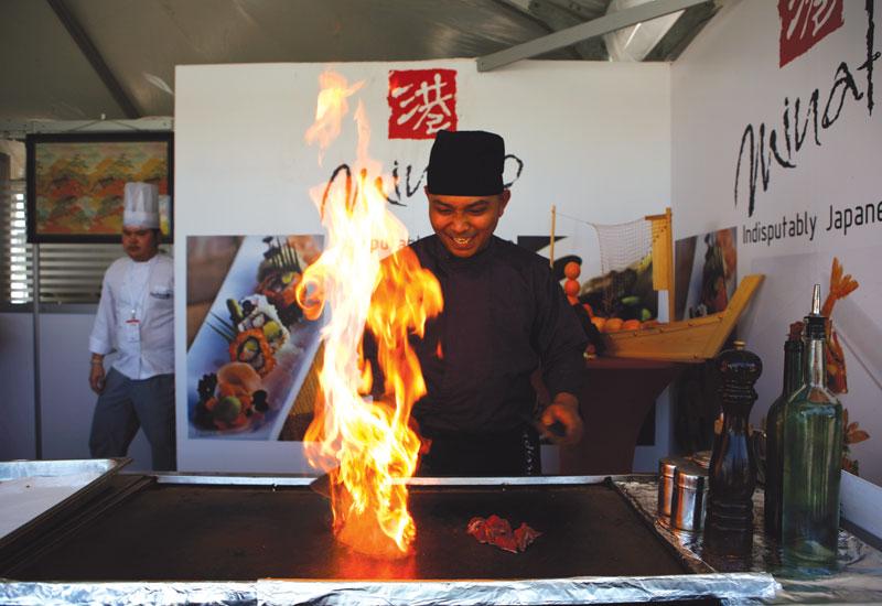 Minato chef Dunjie Durmiendo attracts attention on the restaurant's stand at Taste of Dubai.
