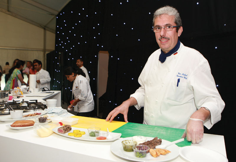 Radisson's Uwe Micheel conducts a cooking demonstration at Taste of Dubai.