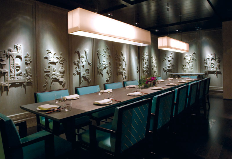 IN PRIVATE: One of four private dining rooms, which are separated with vertical pinewood shutters so it creates different views while walking in the c