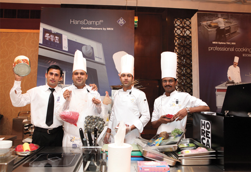 The Hilton Abu Dhabi team with their black box ingredients: Prakash Parajuli, Anoop Chandra, Vinay Kumar Vishnoi and Praveen Kumar.