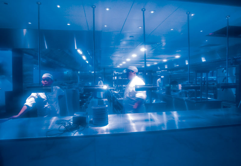 THEATRE: The integral blue glass creates sophisticated restaurant theatre.
