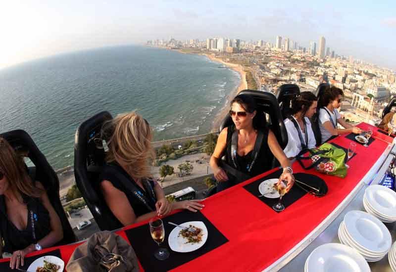 Dinner in the Sky, above Jumeirah Beach in Dubai.
