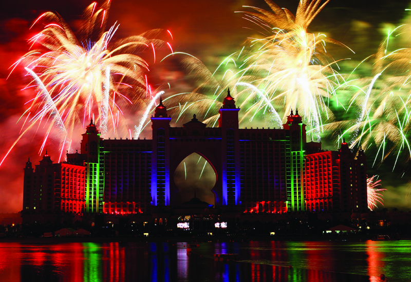 Extravagant firework displays, like the one marking the official opening of Atlantis, The Palm in November 2008, were notably absent in Dubai this New