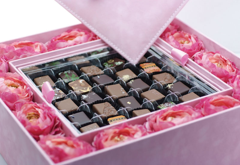 A selection of the beautiful handmade chocolates by Forrey and Galland