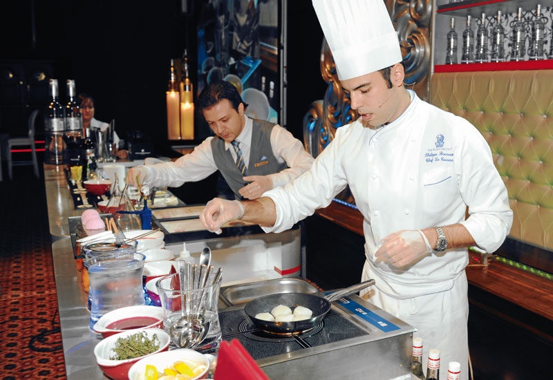 Ritz-Carlton DIFC's chef Philippe Bruneau and bartender Alessandro Bianchini began their outstanding performance doing their regular roles