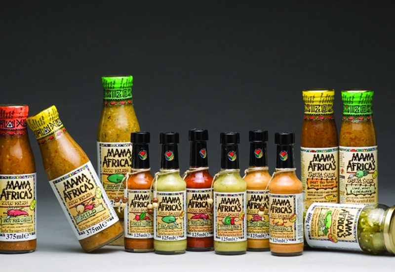 Mama Africa's range of Hot Sauces and Relishes, which the South African Consulate and Department of Trade and Industry will display at Gulfood.