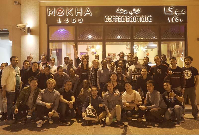 The competitors outside Mokha 1450 on Al Wasl Road