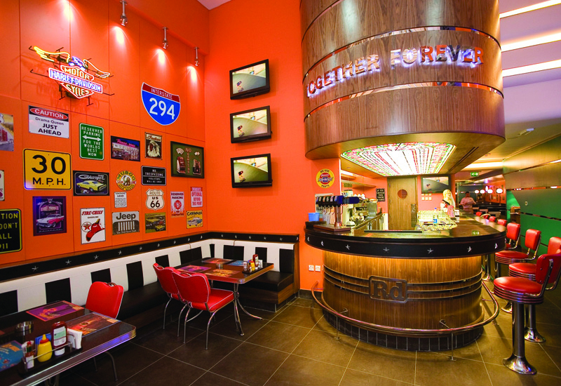 The US-inspired decor at Dubai Mall outlet Roadster diner.