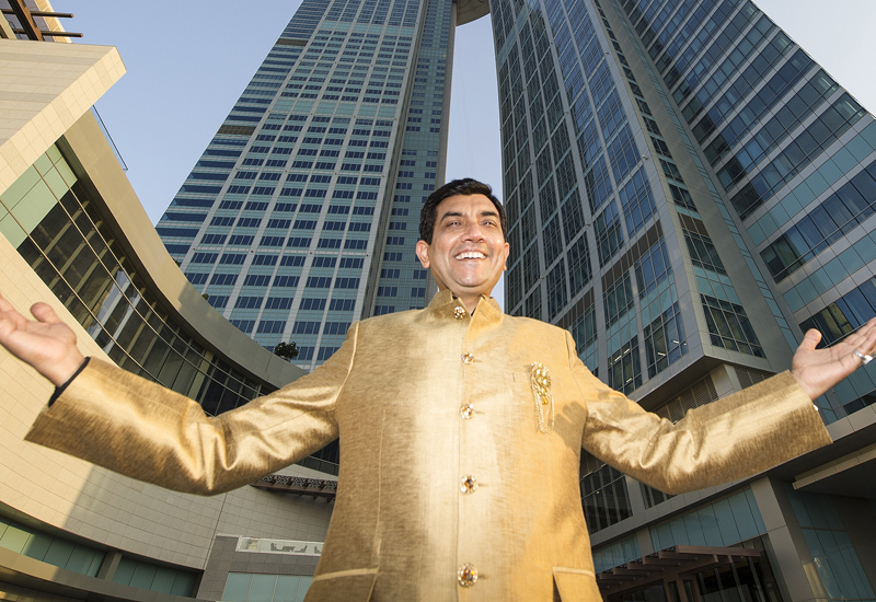 Sanjeev Kapoor inspects his upcoming restaurant at Abu Dhabi's Nations Tower.