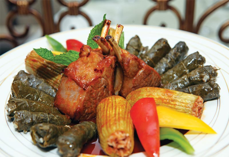 Lamb Chop with stuffed  marrow and vine leaves