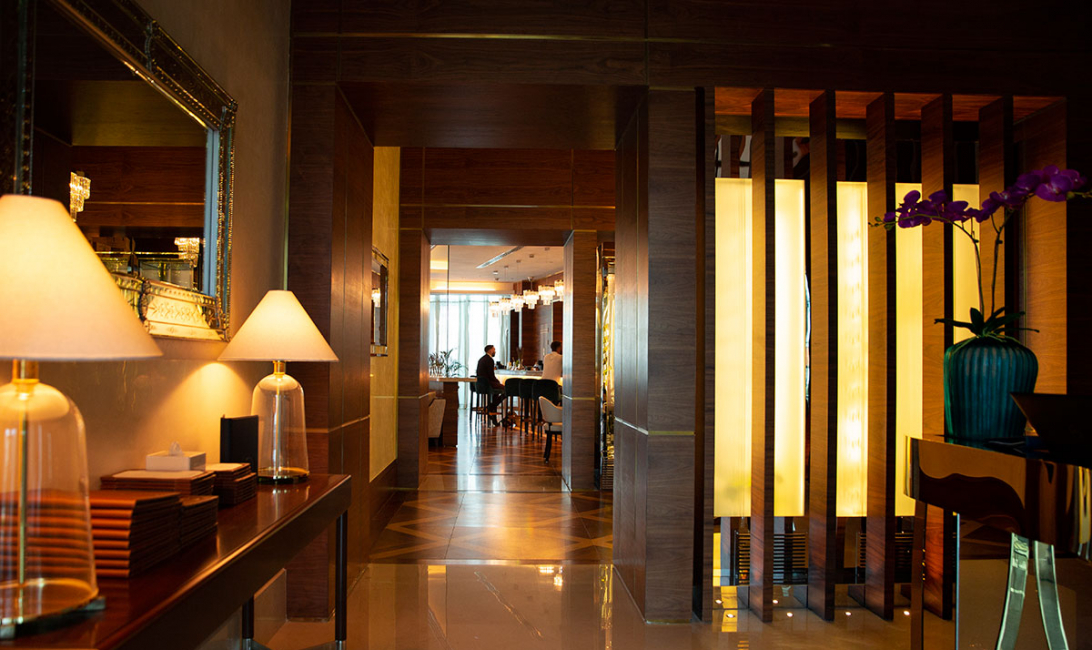 Elegant entrance: From the outside looking in.