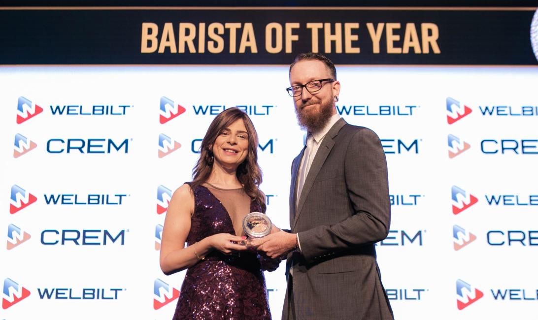 Winner Jamie Elfman with Reina Ezzeddin, marketing manager of Welbilt