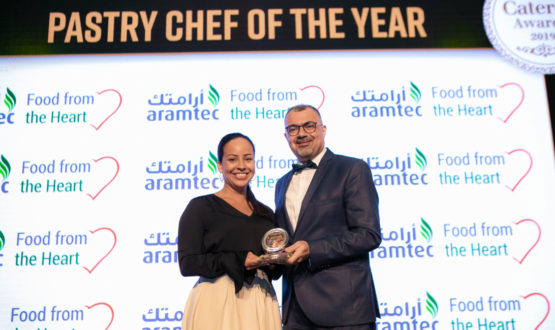 Corylie Suarez picked up the award on behalf of Fabien Fayolle from Aramtec's Riyadh Hassan