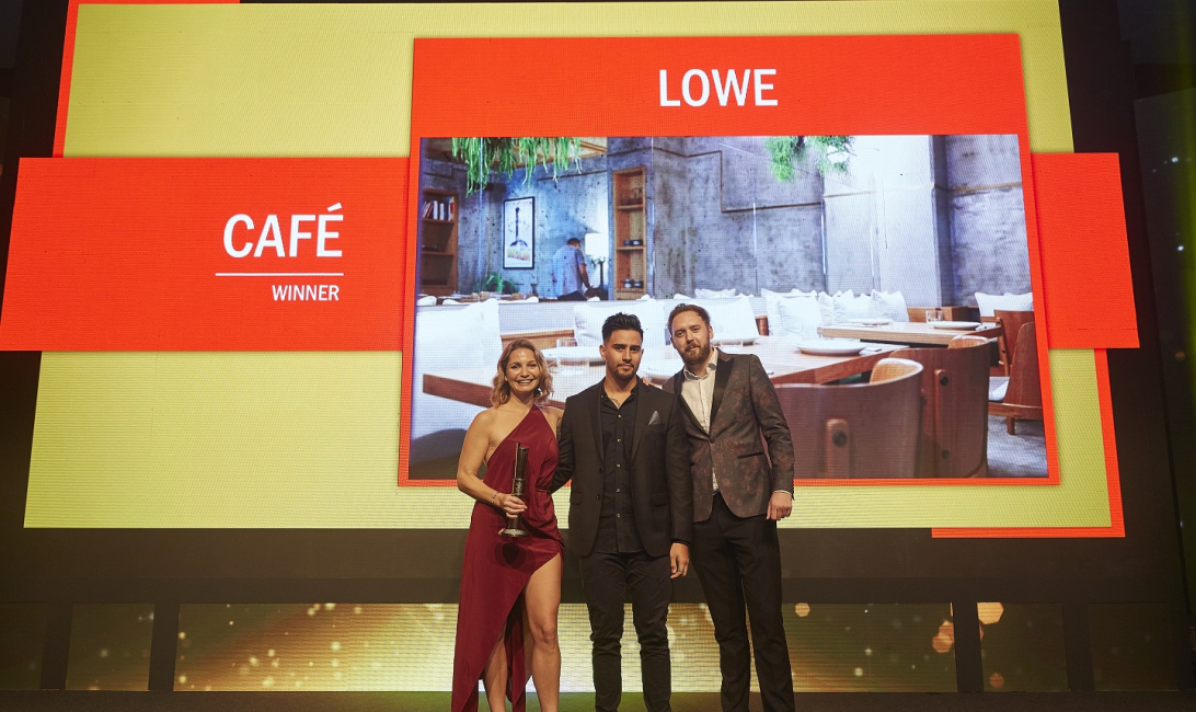 Lowe's Kate Christou and Jesse Blake with Caterer Middle East's Simon Ritchie at the Time Out Restaurant Awards