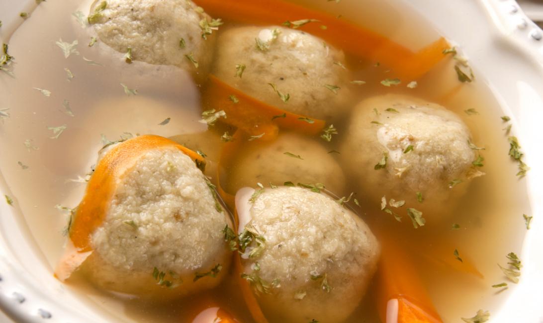 Traditional matzah ball soup